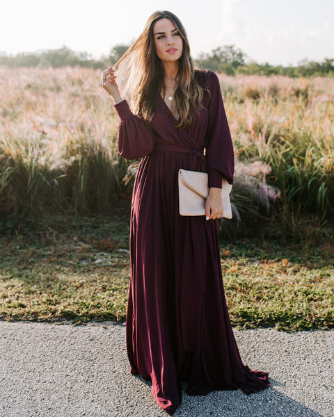 Long Sleeve Diana Maxi Dress - Wine - FINAL SALE