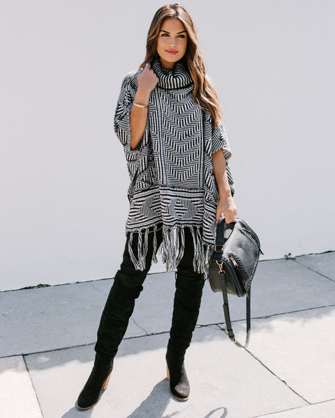 Becky Turtleneck Fringe Poncho Sweater