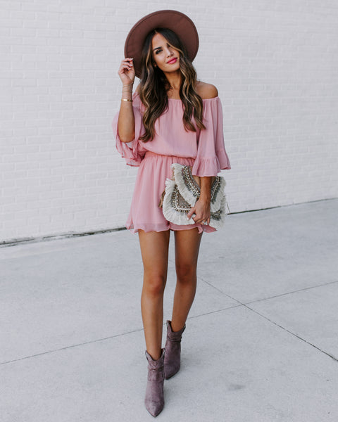 Definitely Demure Off The Shoulder Chiffon Romper - Dusty Pink - FINAL SALE