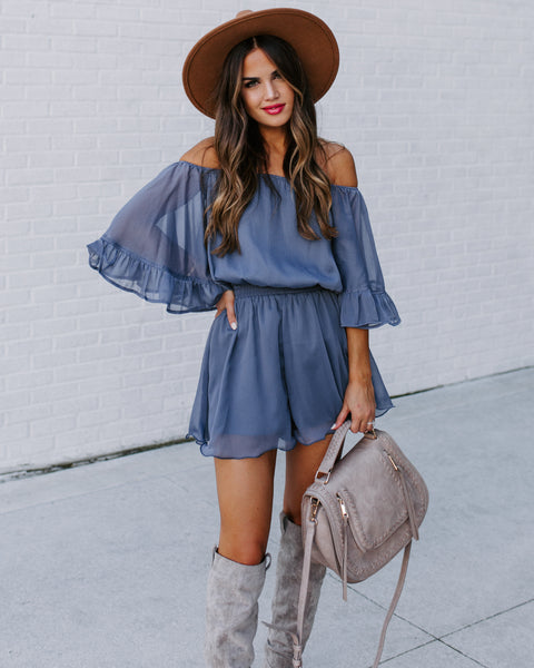 Definitely Demure Off The Shoulder Chiffon Romper - Blue - FINAL SALE