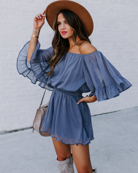 Definitely Demure Off The Shoulder Chiffon Romper - Blue