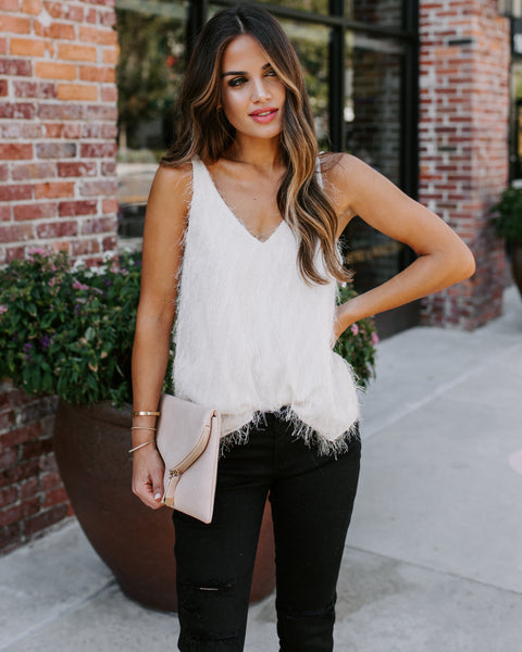 Light As A Feather Cami Tank - Ivory - FINAL SALE