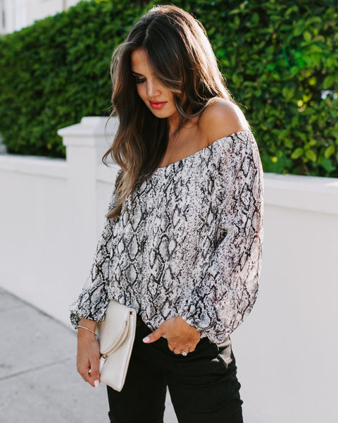 Hiss And Make Up Printed Off The Shoulder Blouse