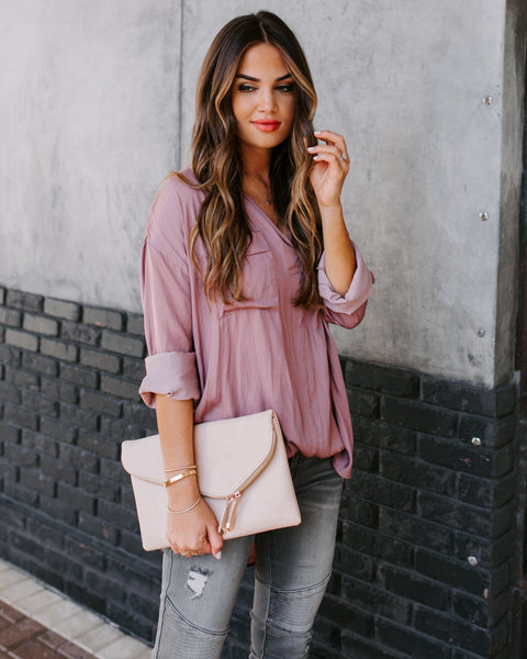 Always Busy Satin Utility Blouse - Dusty Mauve