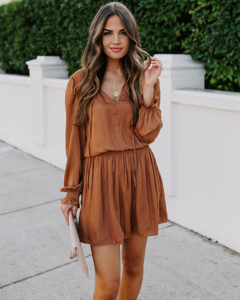 Idealize Smocked Dress - Caramel