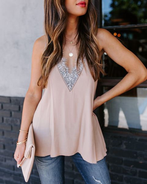 Faith Lace Trim Racerback Tank - Tan