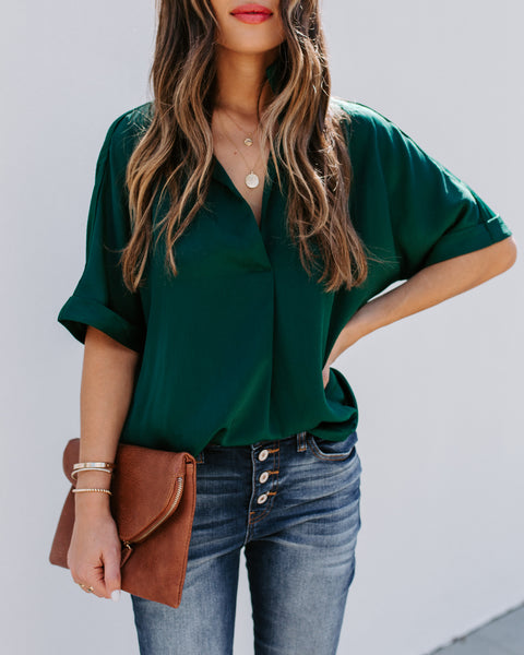 Sea Of Trees Textured Satin Top