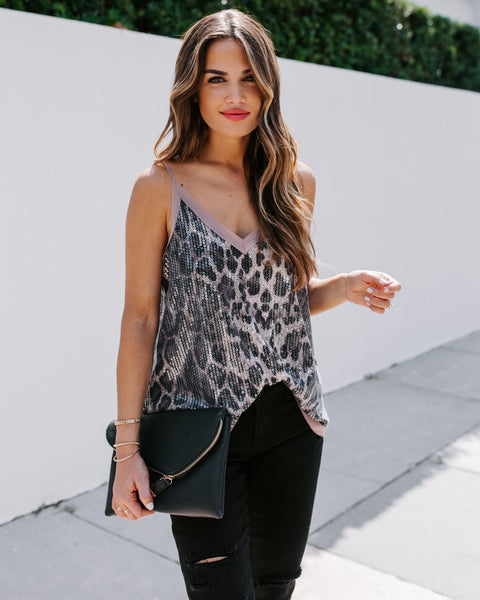 Motive To Move Sequin Leopard Cami Tank