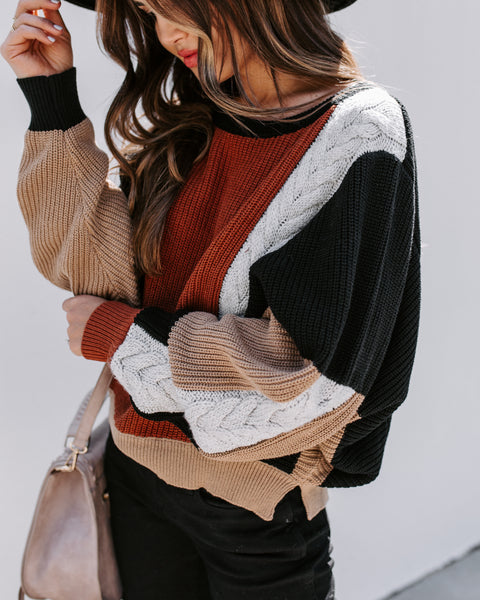 Leslie Colorblock Knit Dolman Sweater