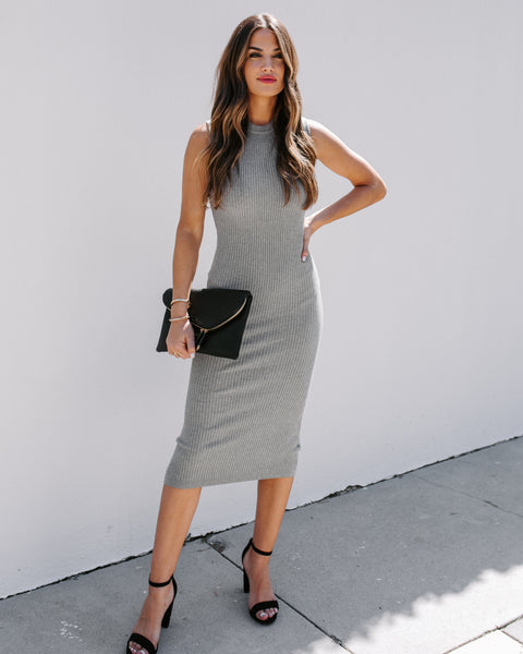 Purpose Ribbed Bodycon Midi Dress - Heather Grey
