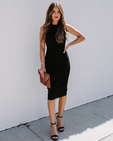 Purpose Ribbed Bodycon Midi Dress - Black
