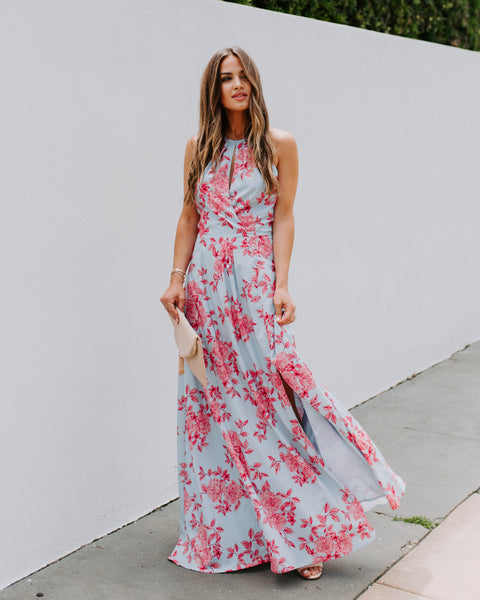 Change Of Heart Floral Satin Maxi Dress