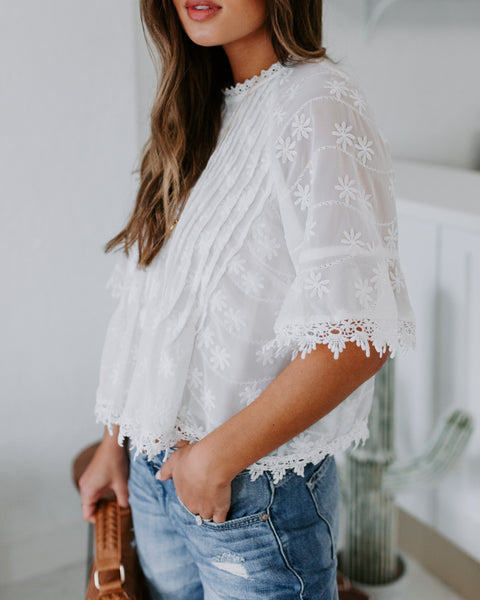First Glance Embroidered Crochet Blouse - FINAL SALE