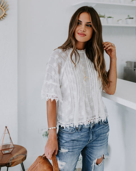 First Glance Embroidered Crochet Blouse