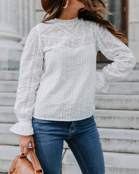 Arcata Cotton Embroidered Eyelet Top - FINAL SALE
