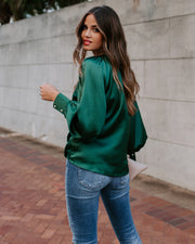 Kelly Satin Statement Blouse - Kelly Green