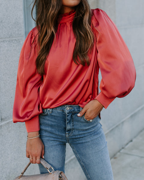 The Show Goes On Mock Neck Satin Blouse