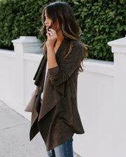 Herbaceous Faux Suede Pocketed Drape Jacket - Olive