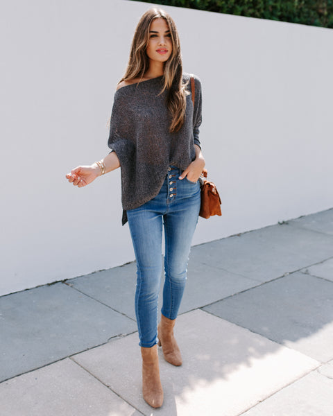 Lean On Me Dolman Knit Top - Charcoal