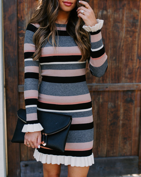 Hot Cocoa Striped Ruffle Bodycon Dress