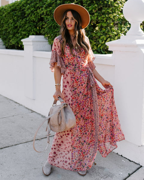 Featherweight Mix Print Floral Wrap Maxi Dress