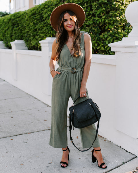 Clear As Day Pocketed Belted Jumpsuit - Olive
