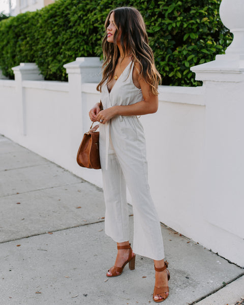 Clear As Day Pocketed Belted Jumpsuit - Cream