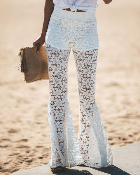 Turn Back Time Lace Bell Bottom Pants - Off White  - FINAL SALE