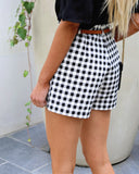 Grand Avenue Belted Cotton Gingham Shorts