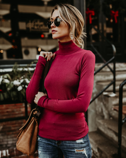 Seeing Clearly Knit Top - Berry - FINAL SALE