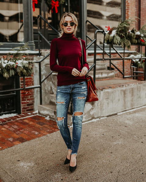 Seeing Clearly Knit Top - Burgundy - FINAL SALE