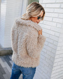Almost Famous Fuzzy Pocketed Statement Jacket - Taupe