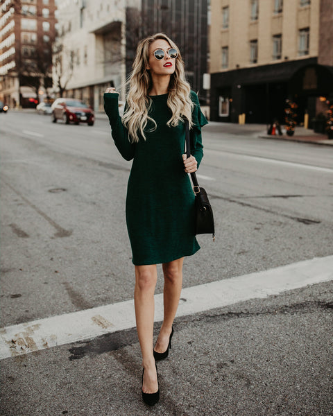 Sweet Darling Ruffle Dress - Hunter Green
