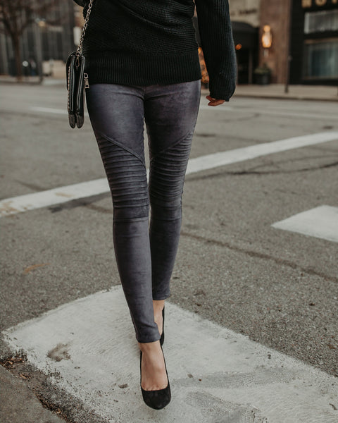 Style & Slay Faux Suede Moto Leggings - Grey
