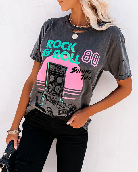80 Summer Tour Distressed Cotton Rock Tee