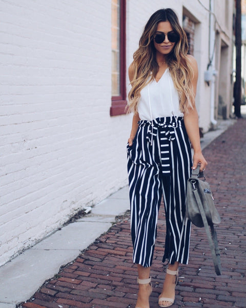 Big Shot Pocketed Striped Trousers - Navy/White