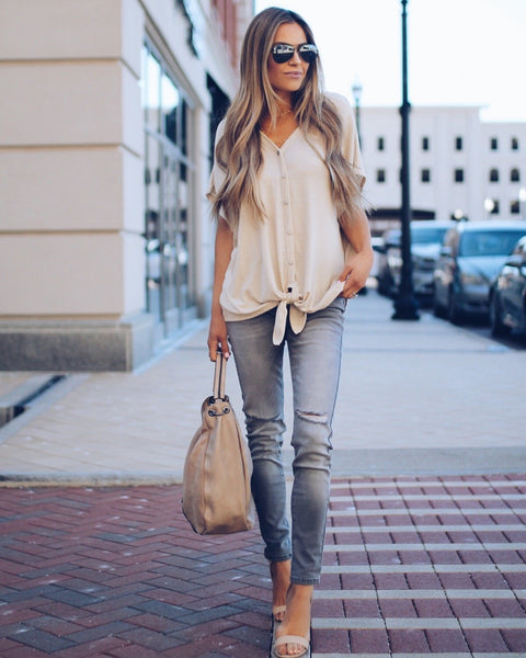 Ready To Go Button Down Tie Top - Taupe