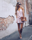 Perfection Pocketed Tie Romper - Peach - FINAL SALE