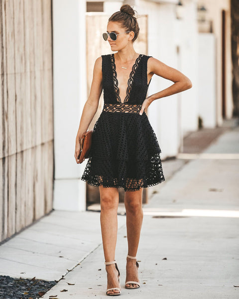 Romantically Yours Crochet Lace Dress - Black