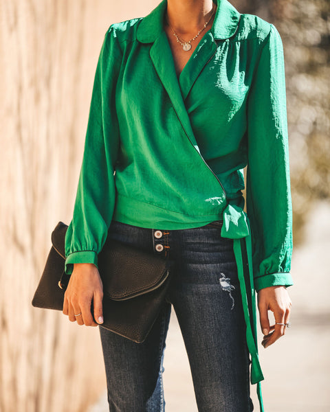 Night Wish Wrap Blouse - Shamrock
