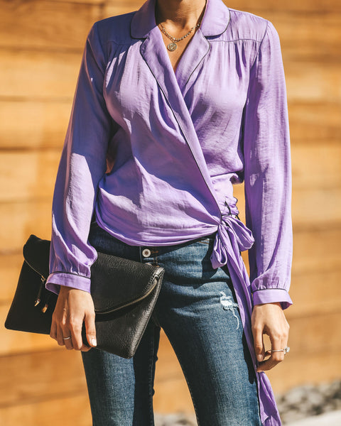 Night Wish Wrap Blouse - Lilac - FINAL SALE