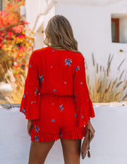 Firefly Floral Embroidered Ruffle Romper view 2