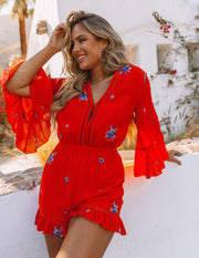Firefly Floral Embroidered Ruffle Romper view 11