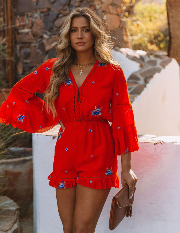 Firefly Floral Embroidered Ruffle Romper view 3