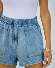 Brayson High Rise Elastic Denim Shorts view 4