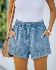 Brayson High Rise Elastic Denim Shorts view 8