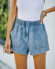 Brayson High Rise Elastic Denim Shorts view 3