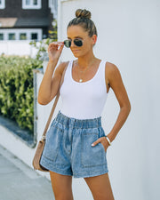 Brayson High Rise Elastic Denim Shorts view 7
