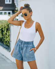 Brayson High Rise Elastic Denim Shorts view 5