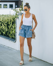 Brayson High Rise Elastic Denim Shorts view 6